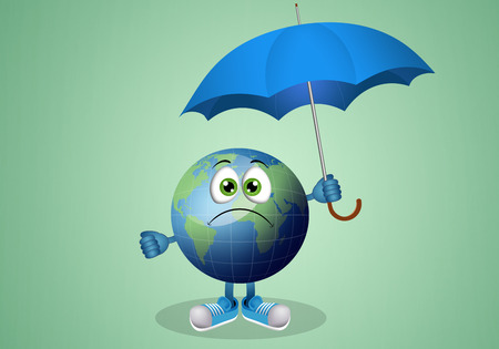 meteorologist: Funny earth with umbrella for rainy day Stock Photo