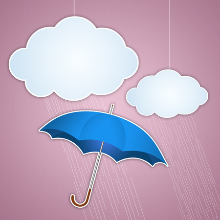 meteorologist: Clouds and umbrella for rainy days Stock Photo