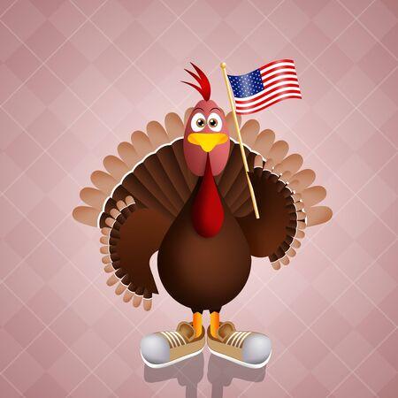 funny turkey: Funny turkey with American flag