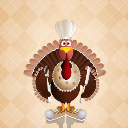 funny turkey: Funny turkey with chefs hat for Thanksgiving Stock Photo