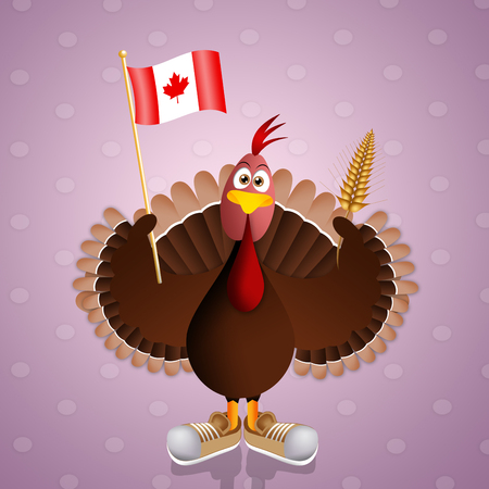 Funny turkey with flag of Canada