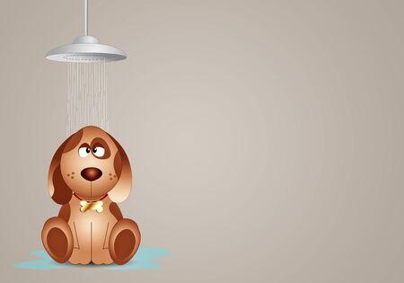 Perro divertido bajo la ducha