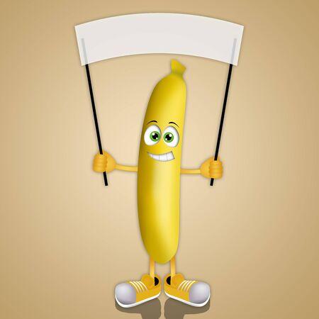 nice smile: Funny banana with signboard