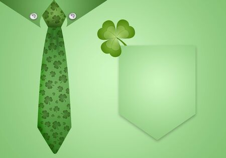 Green shirt and tie with clovers