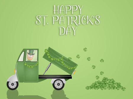 clovers: Green truck transport clovers for St. Patrick