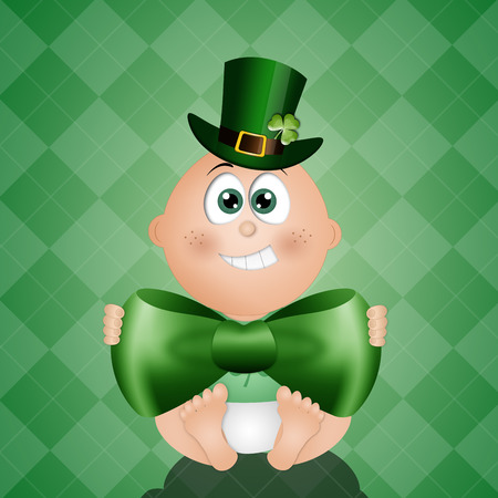 funny baby: Funny baby with green hat for St. Patrick