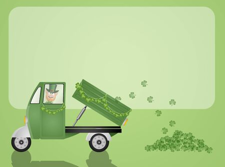 Green truck transport clovers for St. Patrick