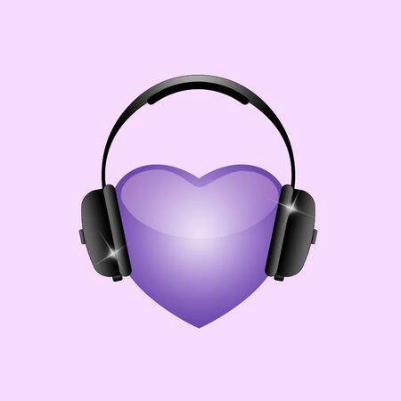 an illustration of headphones on a purple background for asmr