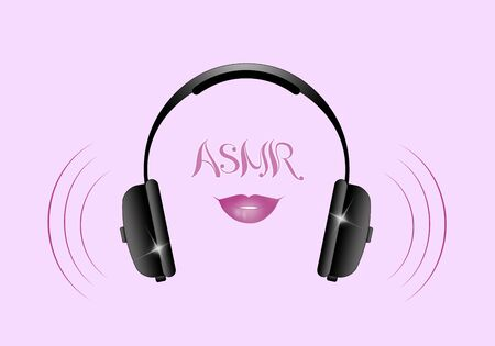 an illustration of headphones on a purple background for asmr Stock Photo