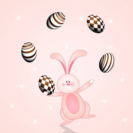 an illustration of funny bunny with chocolate eggs