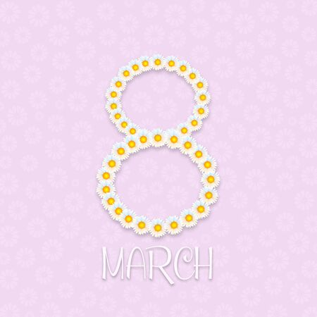 an illustration of daisy on pink background for women's day