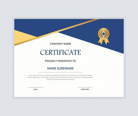 Creative certificate of appreciation award template with gold & blue color shapes and badge diploma vector Vektorgrafik
