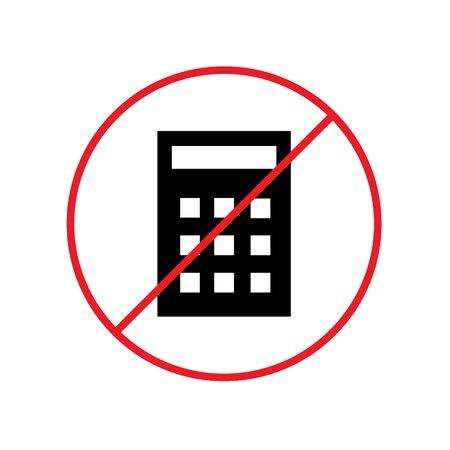 No Calculator Icon Design Vector Glyph Style Template illustration Ilustração
