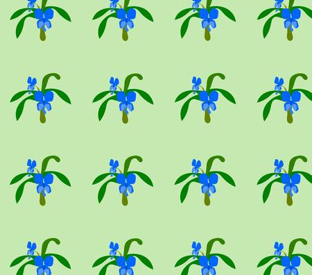 Ghost like flower with leafs on light green background seamless pattern