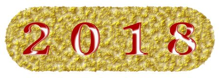 Happy New Year 2018 Abstract button icon type illustration beautifully with frosted glass glow on gold spatter background effect numbers red on golden background