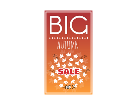 fall about: Big sale banner with autumn leaves. Advertisement about the autumn sale. Fall sale vector design for retail advertising campaigns. Large autumn discounts.