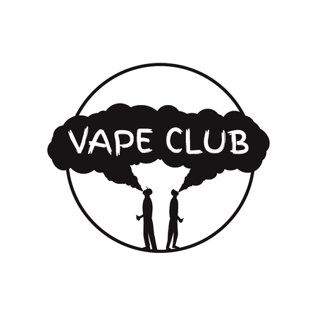 electronic: Vape club badge, logo or symbol design concept. Can be used for advertising vape shop, electronic cigarettes store. Vector Illustrstor.