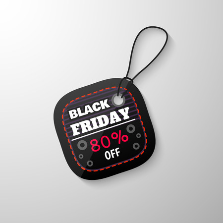designation: Black Friday sale tag with the designation of the value of the discount. Discount and price, design label,  emblem, flat style, discount symbols. Vector Illustration.