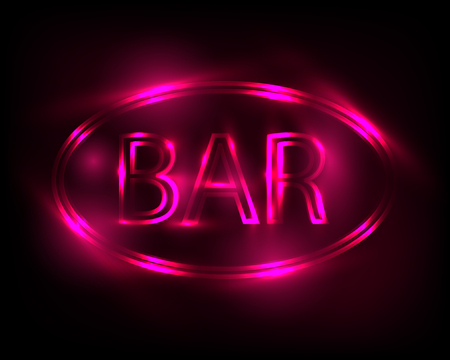 Neon sign Bar. Electric lamp in the form of words. Retro sign for the club on black background. Violet light in the form of text. Vector illustration.