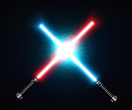 Two crossed laser swords fight red and blue. Futuristic weapon, shiny laser fighting instrument. Design Elements for Your Projects. Vector illustration.