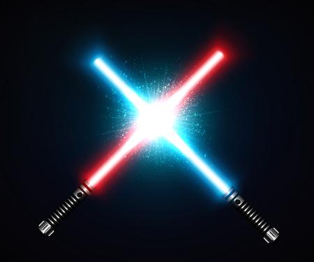 Zwei gekreuzte Laser-Schwerter kämpfen rot und blau. Futuristische Waffe, glänzendes Laser-Kampfinstrument. Design-Elemente für Ihre Projekte. Vektor-Illustration. Standard-Bild - 71023295