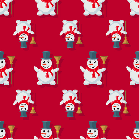 tall hat: Snowman, seamless pattern, image of funny light blue  with orange nose, in a black tall hat and red scarf, with a broom in his hand. Winter, Holiday, Christmas, New Year. Vector Illustration.