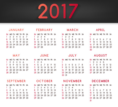 meses del año: Calendar for the year 2017. All months January-March. Week starts on Sunday. Vector illustration.