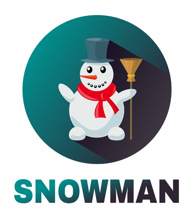 tall hat: Snowman vector icon cartoon image of funny light blue  with orange nose, in a black tall hat and red scarf, with a broom in his hand. Winter, Holiday, Christmas, New Year. Illustration