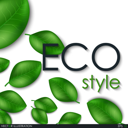 greenery: Leaves design elements. Eco style. Green sprout green leaves symbol. Leafs background for your project. Ecological theme. Greenery. Vector Illustration. Illustration