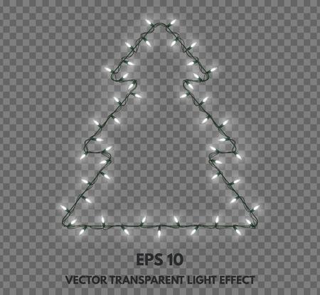 透明な背景にクリスマス ツリーの形をした孤立したガーランドは。グリーティング カード、お祝いの言葉や、他のプロジェクトのための休日の装飾。 写真素材 - 71021467