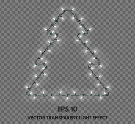 Isolated garland in the shape of Christmas trees on a transparent background. Holiday decorations for greeting cards, congratulations and your other projects. Vectores