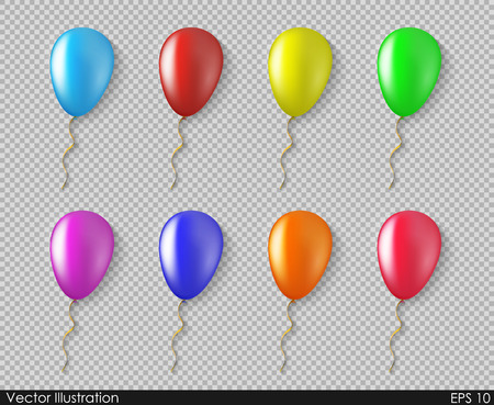 Balloons colorful collection of vector isolated in a realistic style with a transparent background. Festive Decoration item for birthdays and other holidays and your Projects summary.