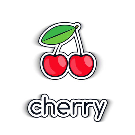 Cherry vector icon in a flat style. The symbol of the fruit, on the topic of healthy eating for your Projects summary.