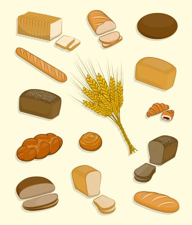 パンや白い背景の上菓子のセット。焼きたてのペストリー、ライ麦パン、小麦パン、サンドイッチやトースト、バゲット、クロワッサン、ブリオッ  イラスト・ベクター素材