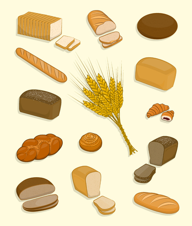 Set of bakery and confectionery on a white background. Fresh pastries, rye bread, wheat bread loaf, sliced for sandwiches and toast, baguette, croissant, brioche, ear of wheat. Vector Illustration.