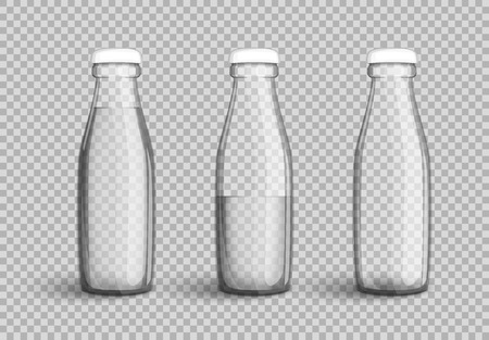Transparent glass bottle with water, full, half full and empty set on transparent background. Vector illustration in your designs, mock-up containers filled with liquid drink to quench your thirst.