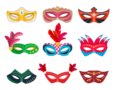 Collection Venetian carnival masks hand painted isolated on white background. Decorations for masquerade, parties and various celebrations. Vector Illustration for your projects.