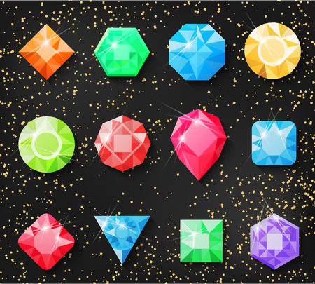 Precious stones, isolated on a gold background. Vector illustration of precious stones, diamonds, diamond, ruby, emerald jewelry and other jewelry for your projects.