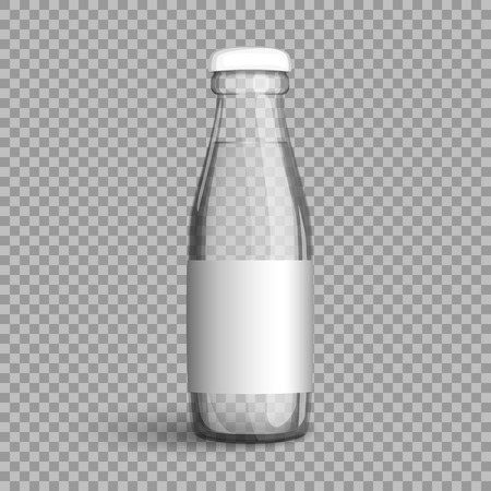 Transparent glass bottle with water. Vector illustration packaging bottle filled with clear liquid, a natural healthy beverage to quench your thirst. Illustration