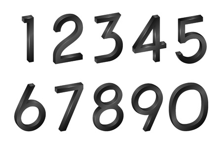 Number Collection isometric mathematical figures, symbols black font in 3d on a white background. Vector Illustration with digital geometric characters for your projects.