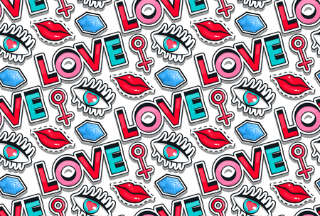Fashion icons collection set of stickers, pop art in the style of 80th, 90th Vector Illustration isolated on white background. Wallpapers, seamless pattern wrap love, lips girls eyes diamond.