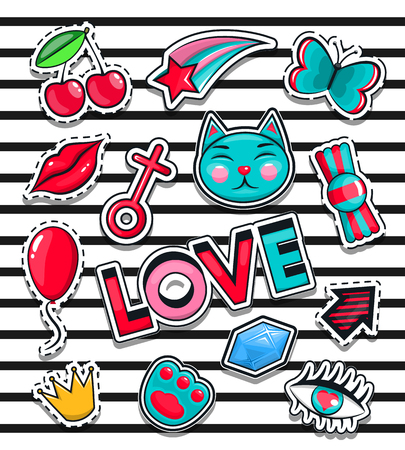 80th: Fashion icons collection set of stickers, pop art in the style of 80th, 90th Vector Illustration isolated on white background. Animation, love, cat, candy, girls eyes, butterfly, crown, lips, etc.