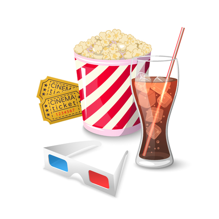 Collection icon symbols on watching movies in cinema Illustration
