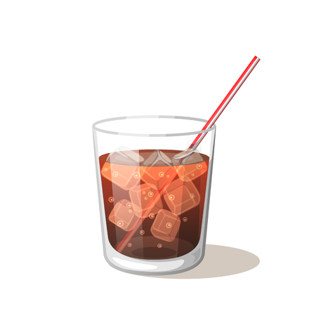 Cola drink in a glass cup with ice with sticks Vector Illustration