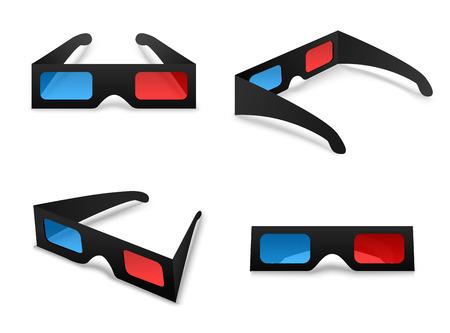 3 d メガネ孤立したコレクション セット ホワイト バック グラウンド ベクトルを