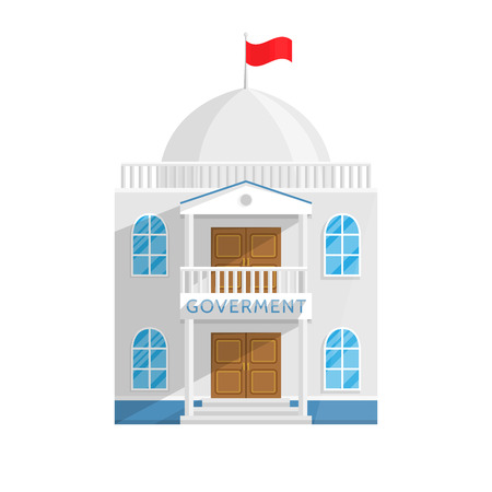 Government building in Flat style isolated on white background Vector Illustration. Senate Government House and other agencies managing their own country city Illustration for your projects.