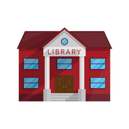 Bibliotheekgebouw in Vlakke die stijl op witte Vectorillustratie wordt geïsoleerd als achtergrond. Symbool Architectuurhuis Winkel Boeken literatuuronderwijs lesgeven lezen krijgen Illustratie voor uw projecten.