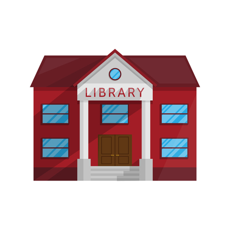 Library building in Flat style isolated on white background Vector Illustration. Symbol Architecture house Shop Books literature education teaching reading getting Illustration for your projects.