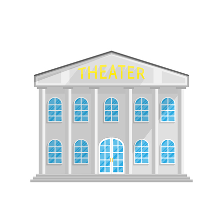 Theater style building in Flat isolated on white background Vector Illustration. Architecture opera house where there are performances, exhibitions, cultural program Illustration for your projects.