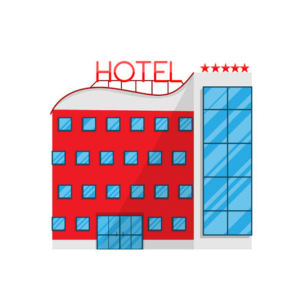 Hotel in Flat style isolated on white background Vector Illustration. The building architecture holiday home, removing Apartments For tourism accommodation Illustration for your projects.